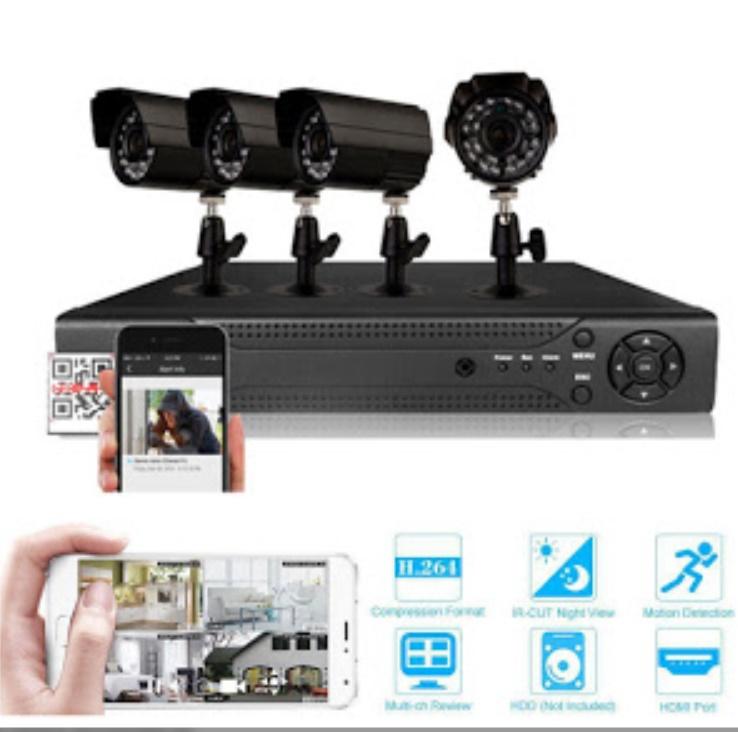 Sistem supraveghere CCTV - kit DVR 4 camere exterior/interior, cu HDMI, internet, infrarosu