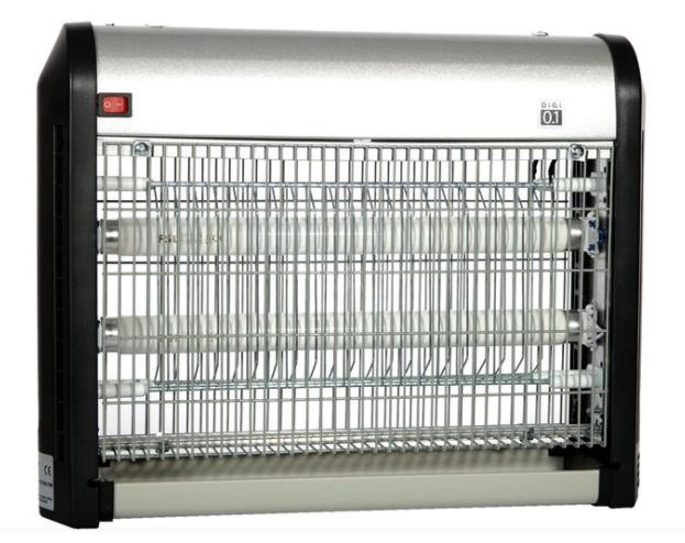 Aparat electric anti-insecte, tip capcana cu 2 becuri UV de 6 W, NegruGri, 40 x 27 cm