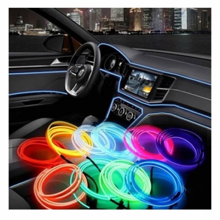 Banda decorativa auto LED 3 metri, pentru interior