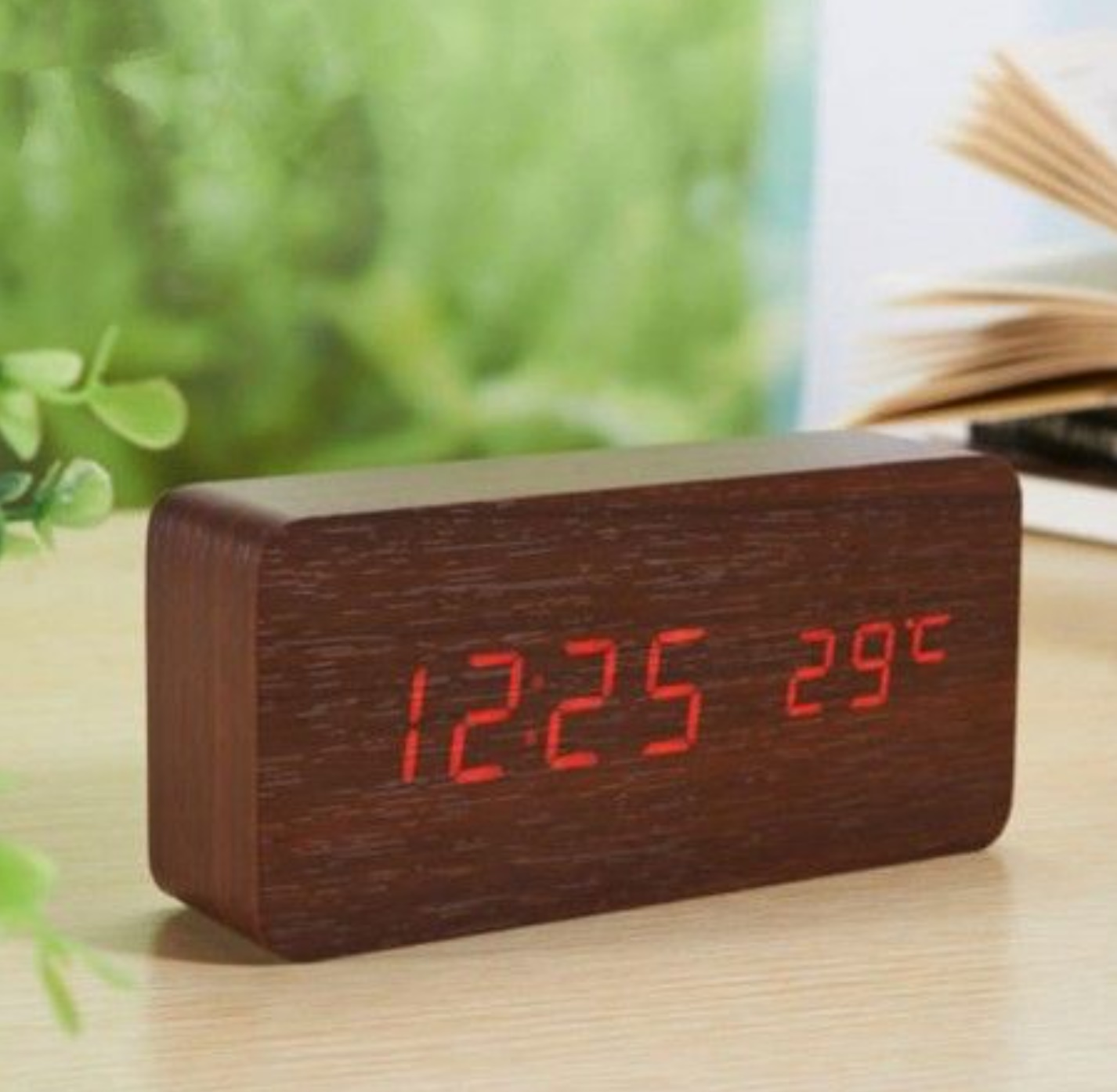 Ceas digital din lemn 862-VST cu LED si alarma