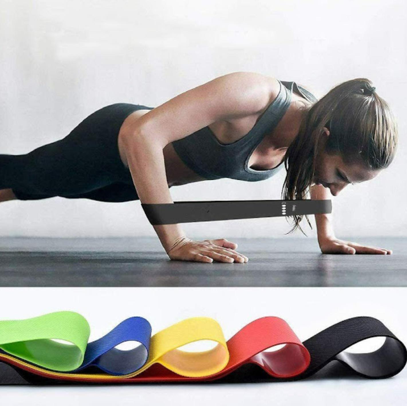 Centura pentru slabit SWEET SWEAT Waist Trimmer +  CADOU 5 benzi elastice de rezistenta pentru fitness, yoga, antrenamente