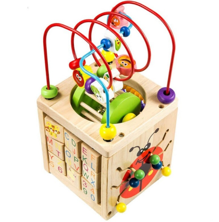 Cub din lemn masiv, Montessori, 6 in 1 – Buburuza