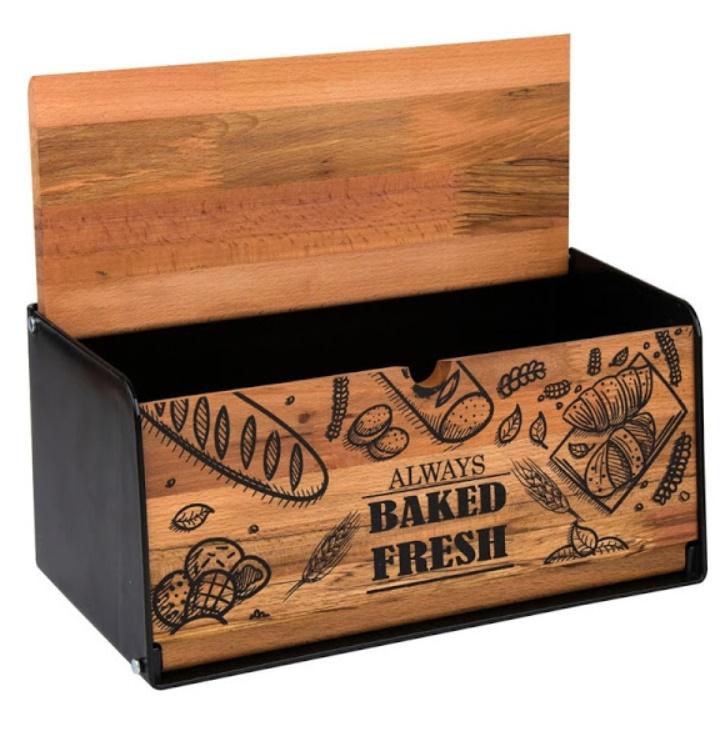 Cutie pentru paine Baked Fresh, 40 x 18 x 16 cm, Negru-Maro