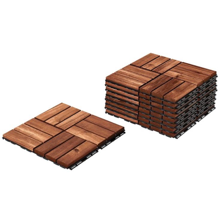 Dale din lemn pentru balcon, 30x30x2 cm, Set 9 bucati