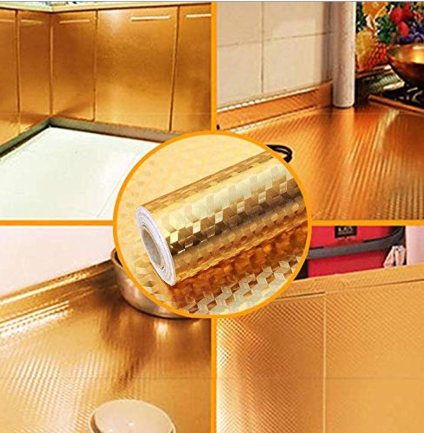 Folie adeziva de aluminiu, pentru bucatarie, auriu, 60 x 300 cm
