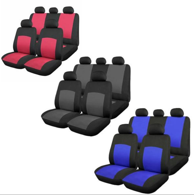 Huse scaune auto Oxford 9 bucati: albastru / gri / rosu