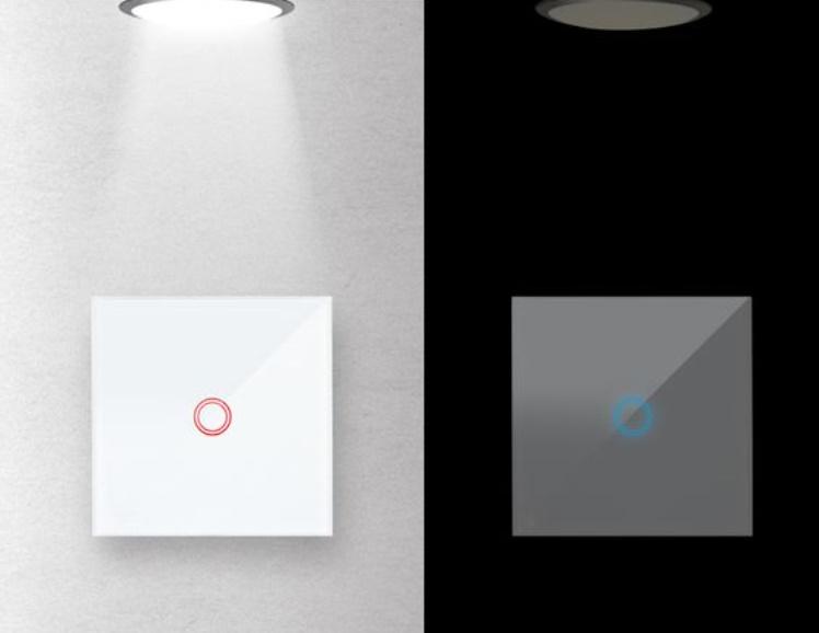 Intrerupator cu touch, WiFi, simplu, Alb