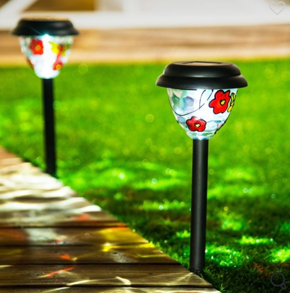 Lampa Solară Vitralii Flori Negre 38 cm