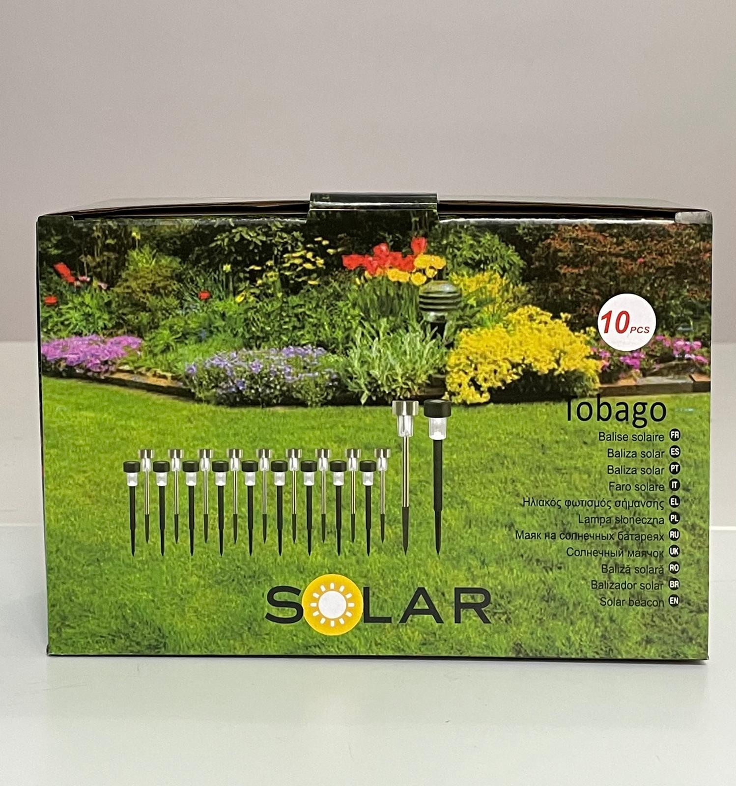 Lampa solara stick inox, H 36 cm, set 10 bucati