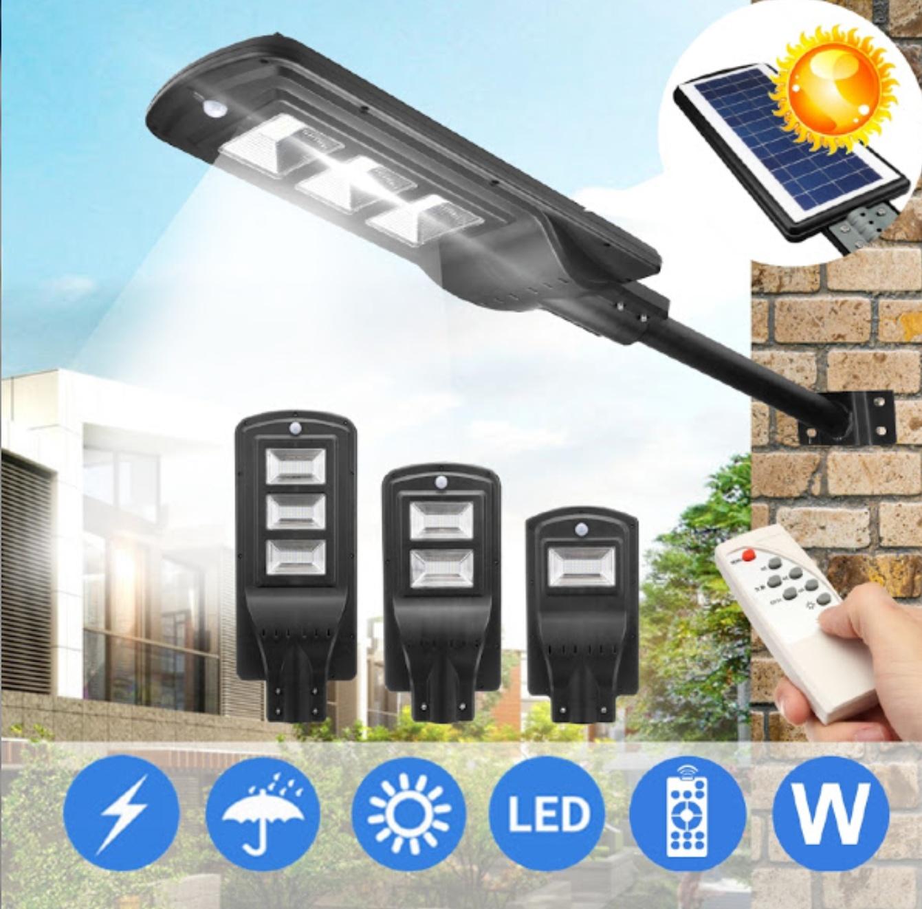Lampa stradala cu panou solar, 90W, senzor de lumina, telecomanda