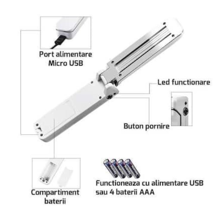 Lampa UV bactericida, 3W pentru dezinfectare/sterilizare