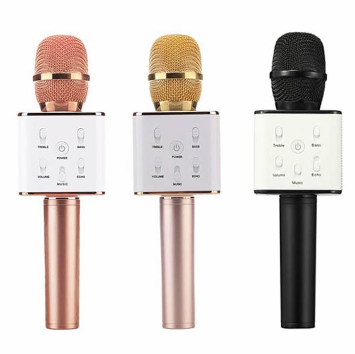 Microfon Karaoke fara fir Q7 Bluetooth portabil cu boxa
