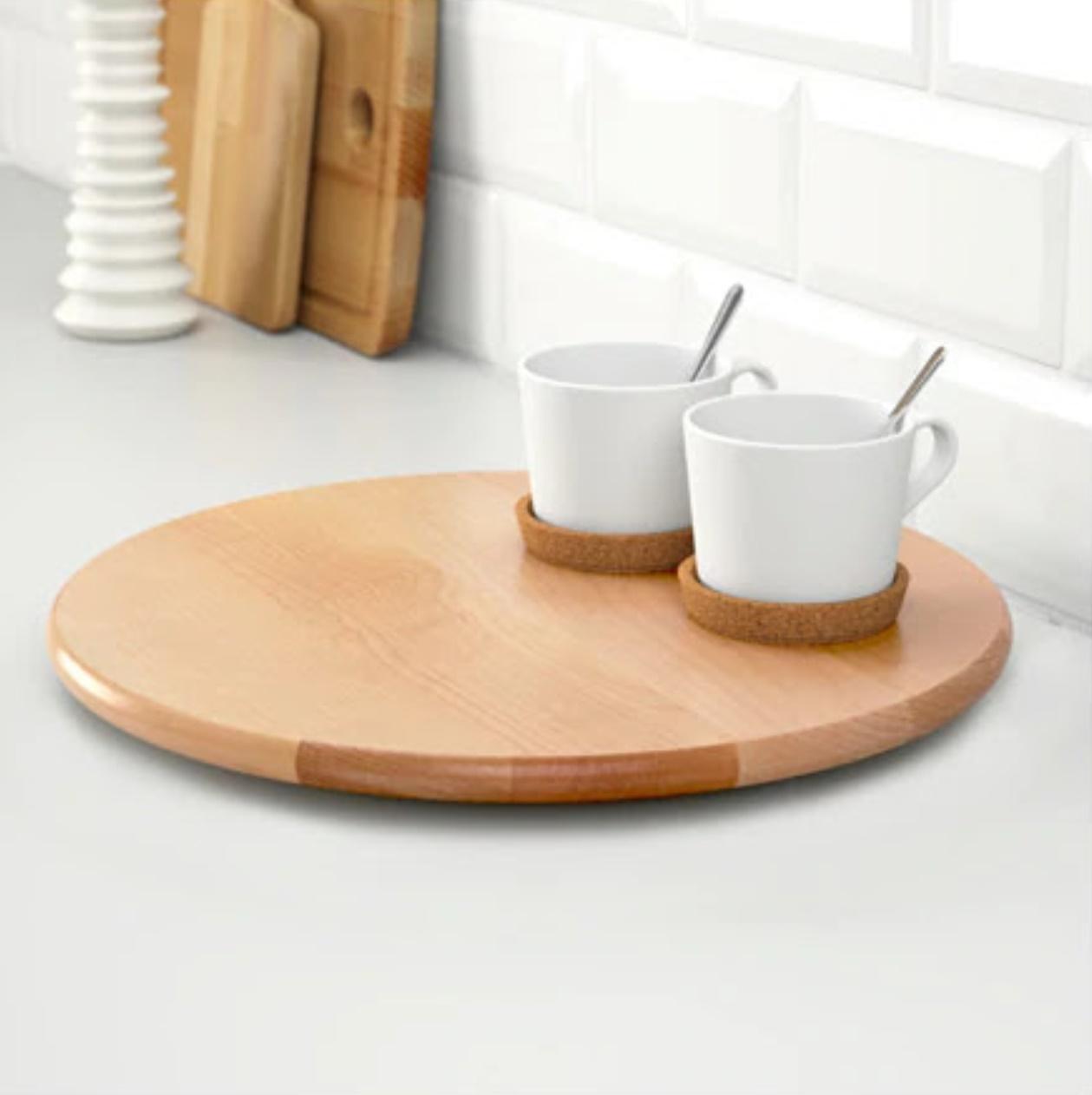 Platou rotativ din lemn masiv de mesteacan lacuit