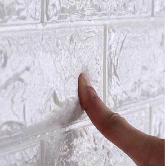 Set 10 x Tapet 3D Autocolant alb, design caramida, rezistent la apa, 70cm x 77cm x 6 mm