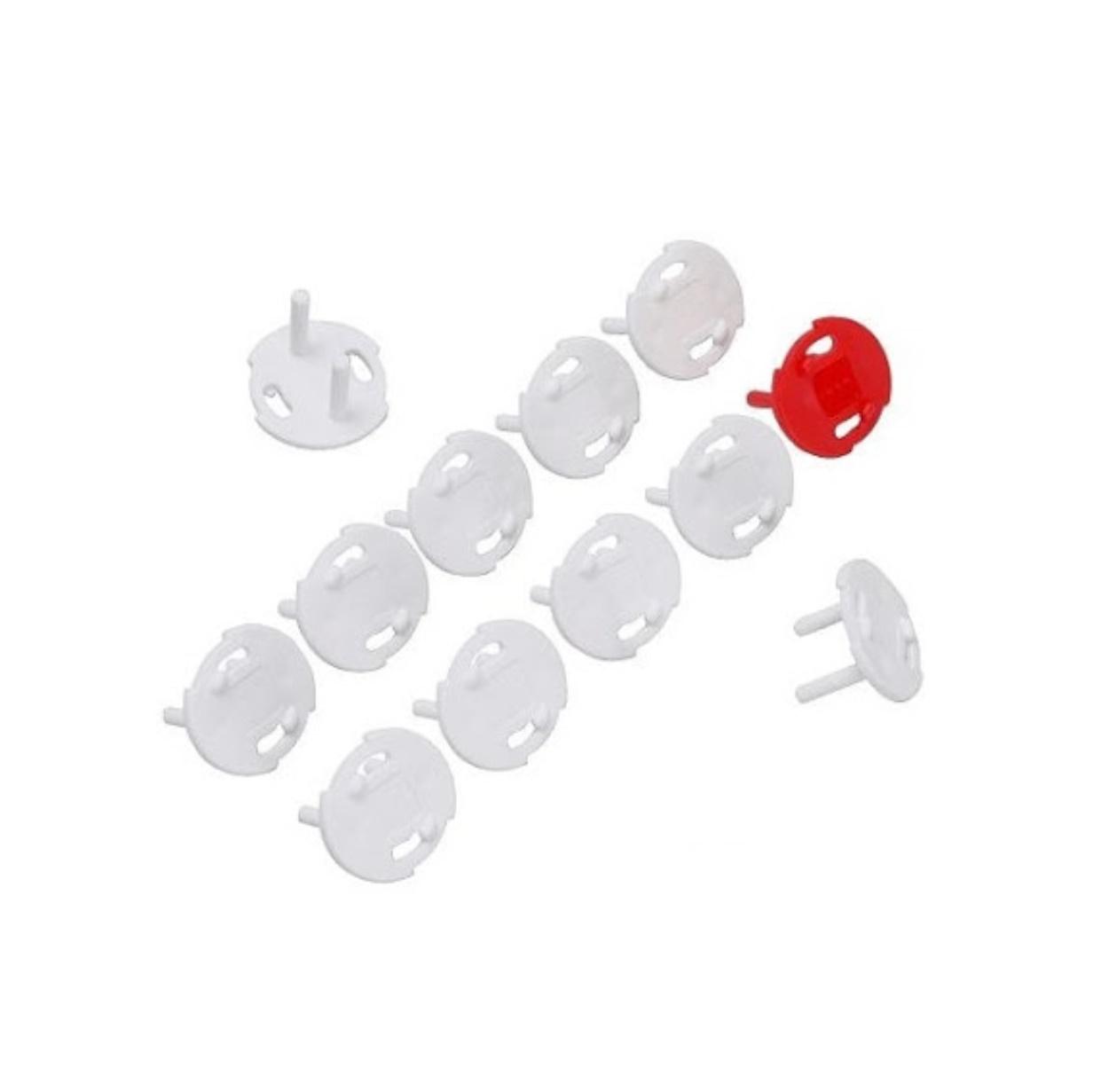 Set 12 capace protectie priza, dop priza siguranta copii, plastic, alb