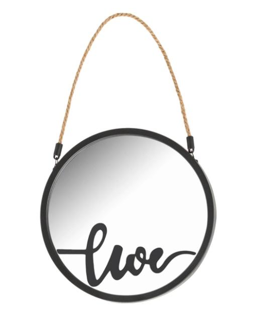 Set 3 oglinzi cu agatatoare si text Love Live Laugh, 25 cm