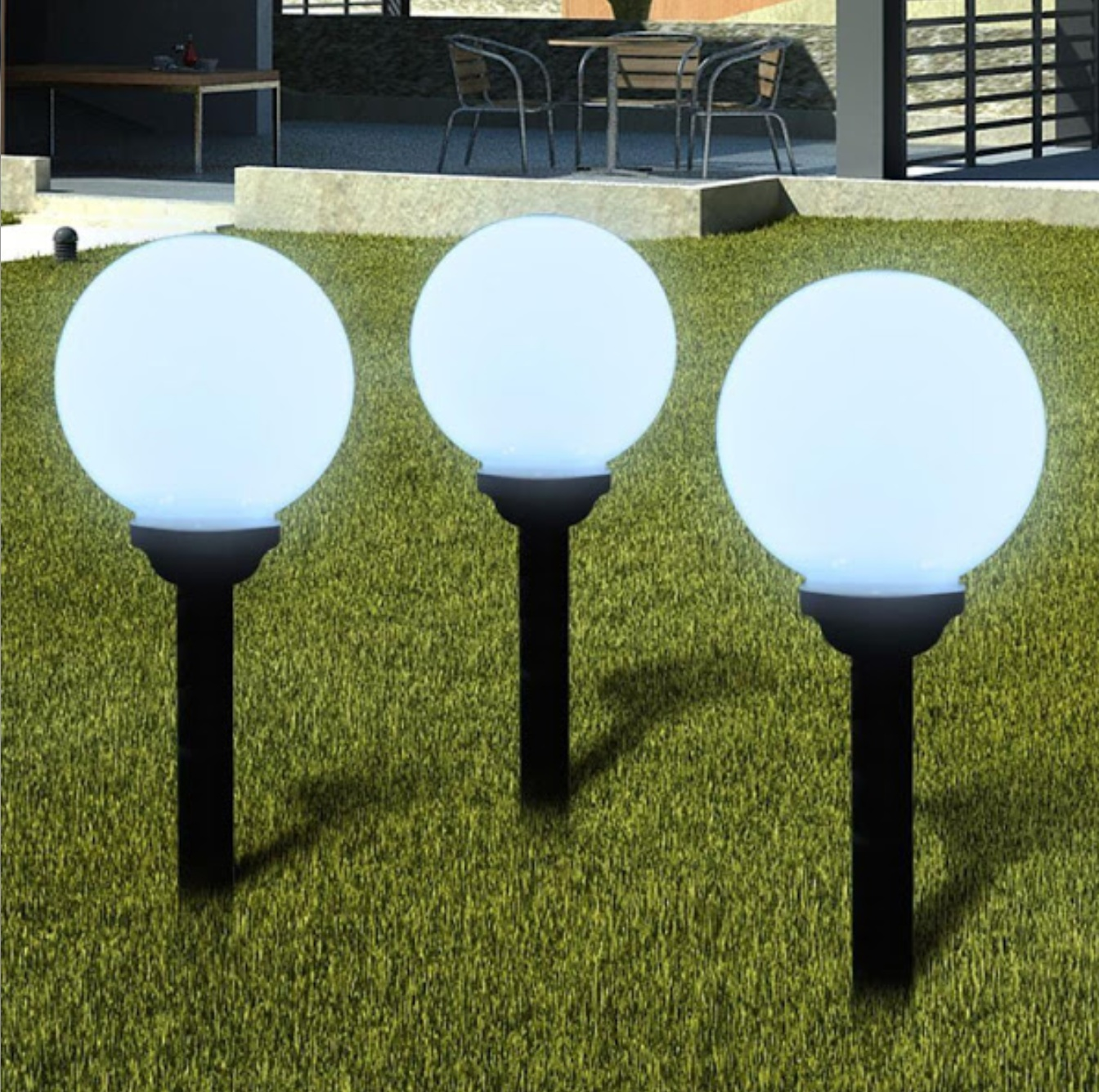 Set 3 x lampa solara cu senzor crepuscular, 4 LED, 37 cm, diametru 15 cm