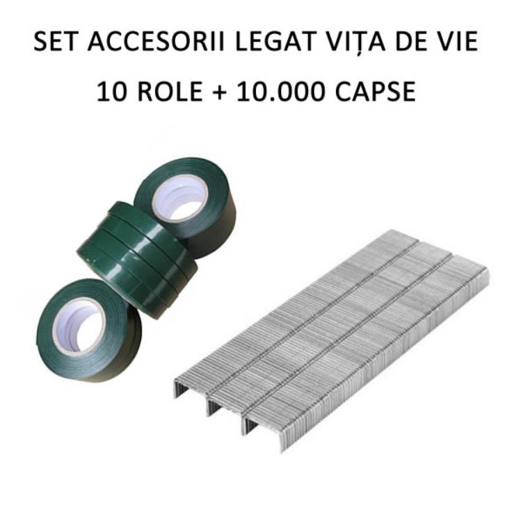 Set accesorii pentru aparat legat vita de vie 10 role banda + 10.000 capse