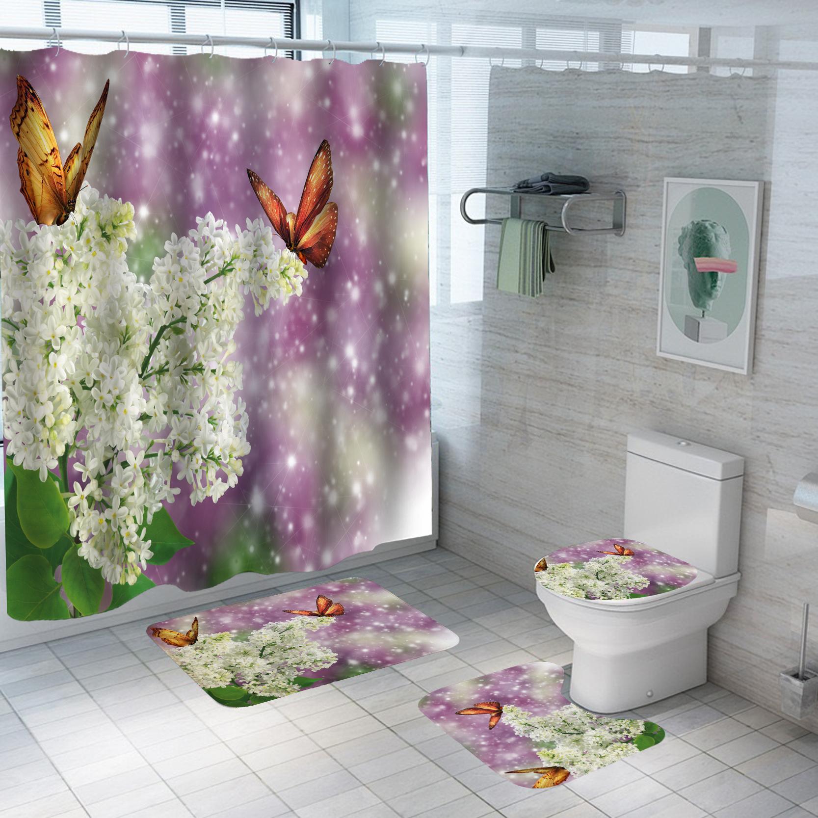 Set pentru baie: perdea, covorase si husa de toaleta, Lilac