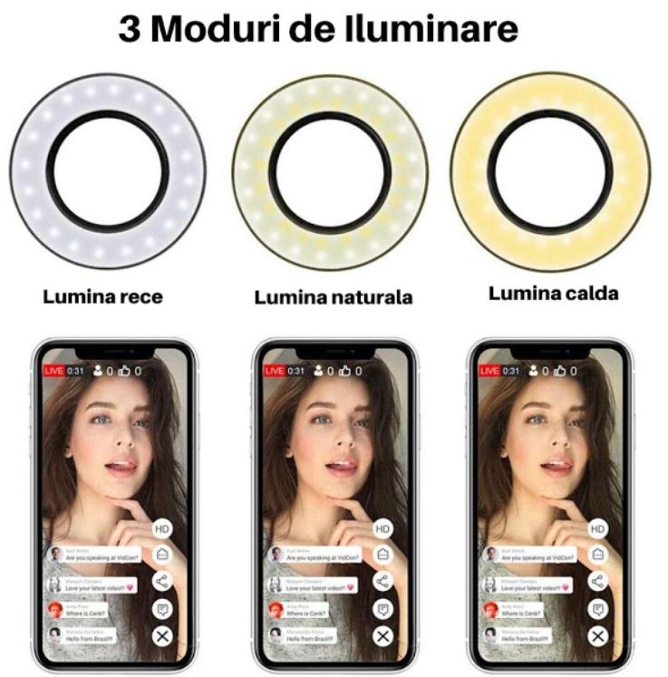 Suport selfie flexibil cu clama de prindere, 3 moduri de iluminare, Alb