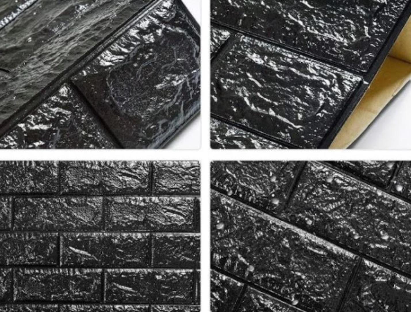 Tapet autoadeziv negru caramida, 77 x 70 cm, spuma moale 3D