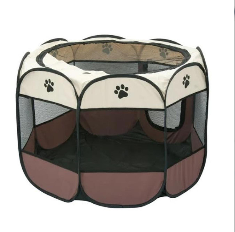 Tarc pliabil pentru caini, baza impermeabila, multicolor, 91x91x57 cm